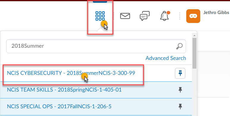 cursor highlighted over the grid icon and over the name of the course in the course selection list