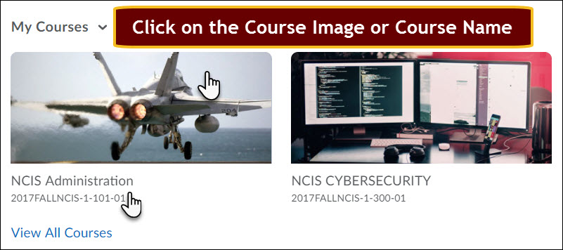 the my courses widget with cursor over the name of the course under the course image tile