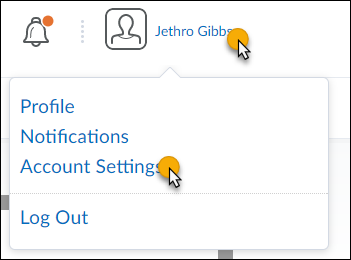 cursor over user name in top right of page and over Account Settings link in resulting menu