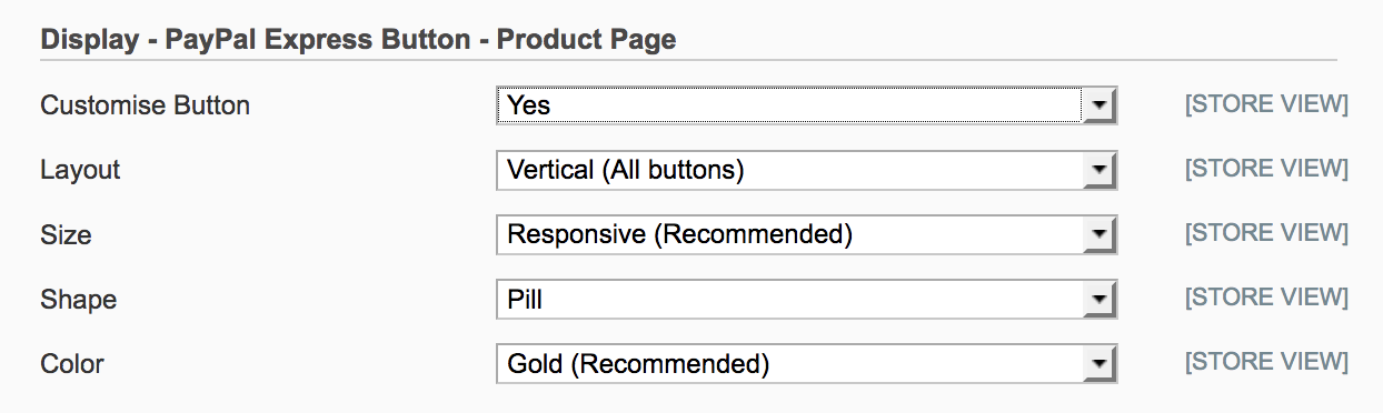 Magento 1 settings to customise the PayPal button on  product page
