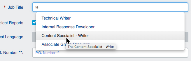"""Job Title"" drop-down"