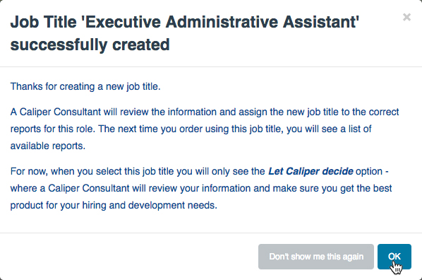"""Job Title...Successfully Created"" dialog"