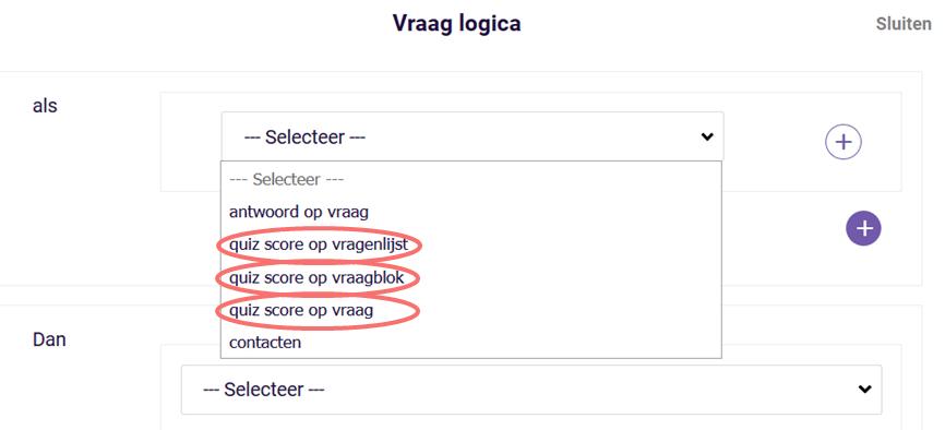 Vraag logica - quiz score