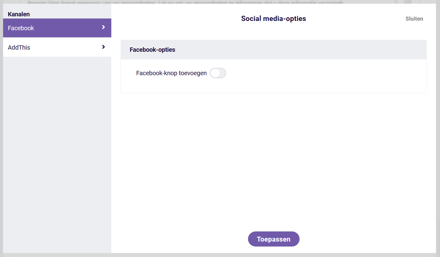 Social media opties