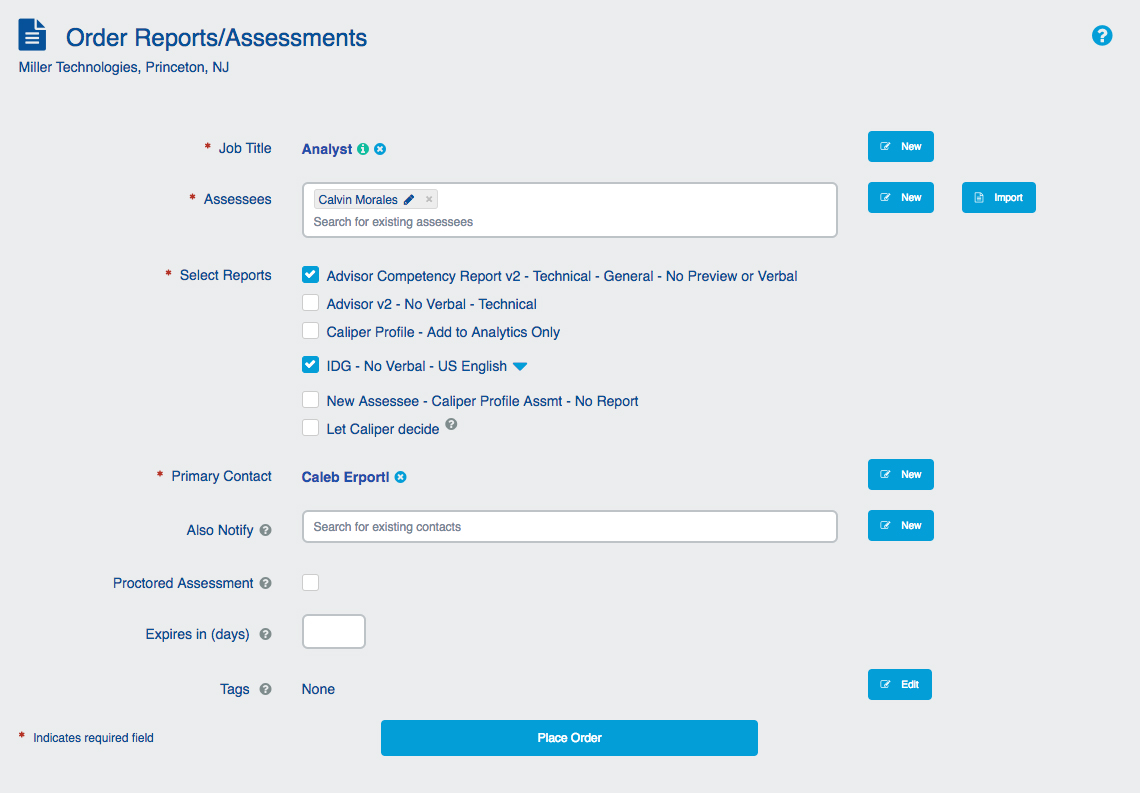 """Order Reports/Assessments"" screen"