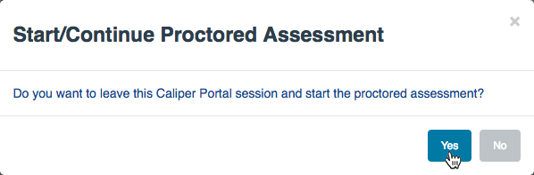 """Start/Continue Proctored Assessment"" dialog"