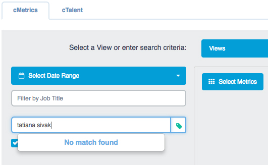 """""""cMetrics"""" tab with """"Hide Not Hired Assessees"""" checkbox selected"""