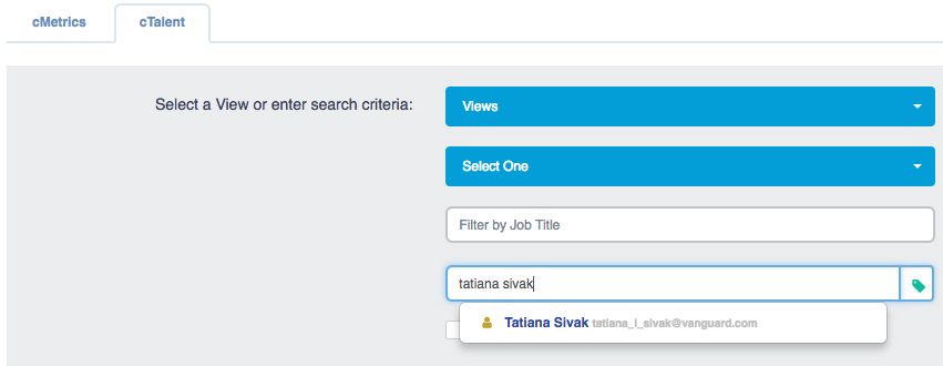 """cTalent"" tab with ""Hide Not Hired Assessees"" checkbox unselected"