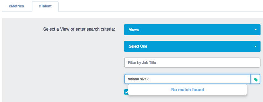 """cTalent"" tab with ""Hide Not Hired Assessees"" checkbox selected"
