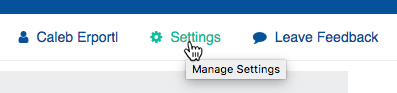 "Click ""Settings"" to access User settings"