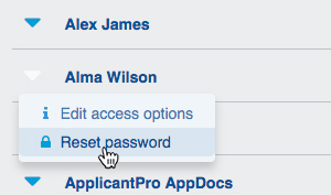 "Select ""Edit Access Options"" from drop-down menu"