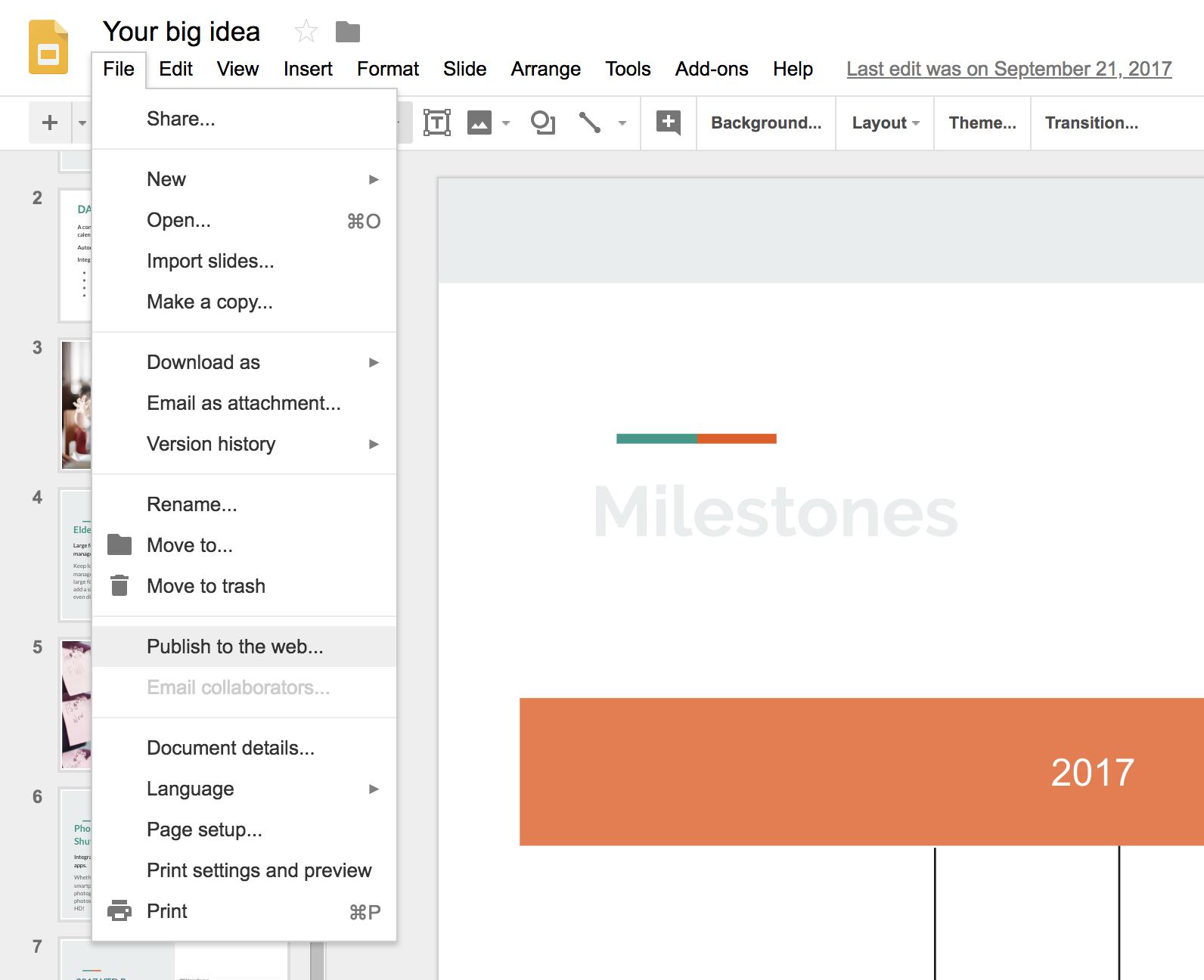 add a google slides slideshow presentation to dakboard