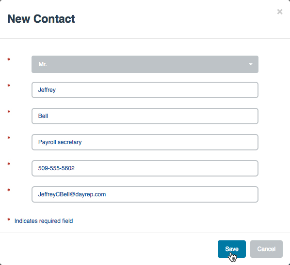 """New Contact"" screen"