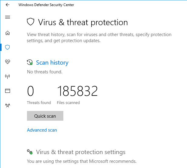 avast threat history