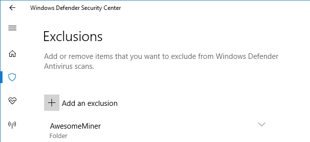 Configure exclusions in Windows Defender : Awesome Miner