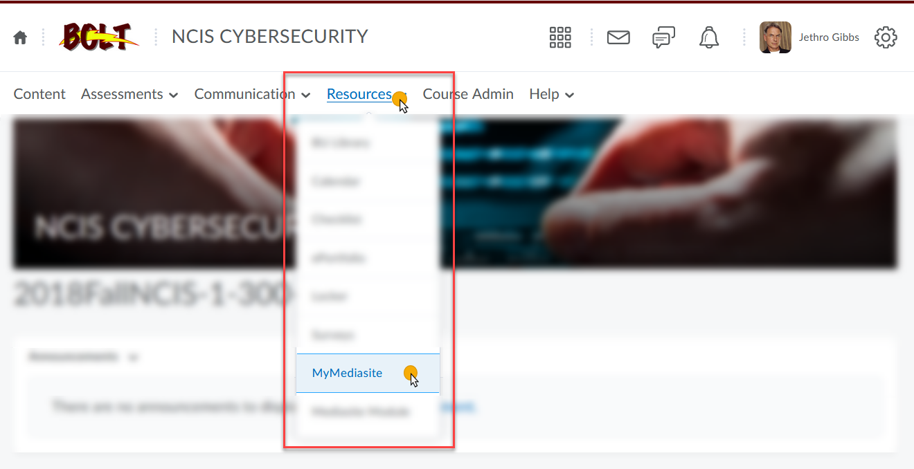 in a BOLT course click Resources and then MyMediasite