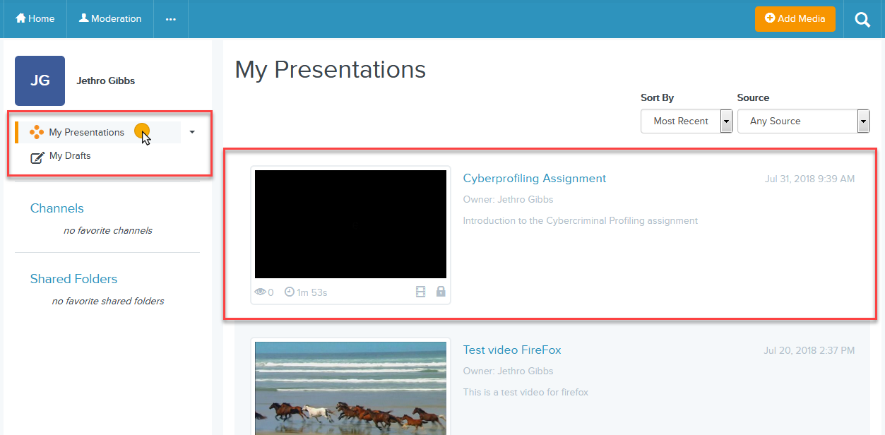 cursor on My Presentations and new video presentation showing on the right