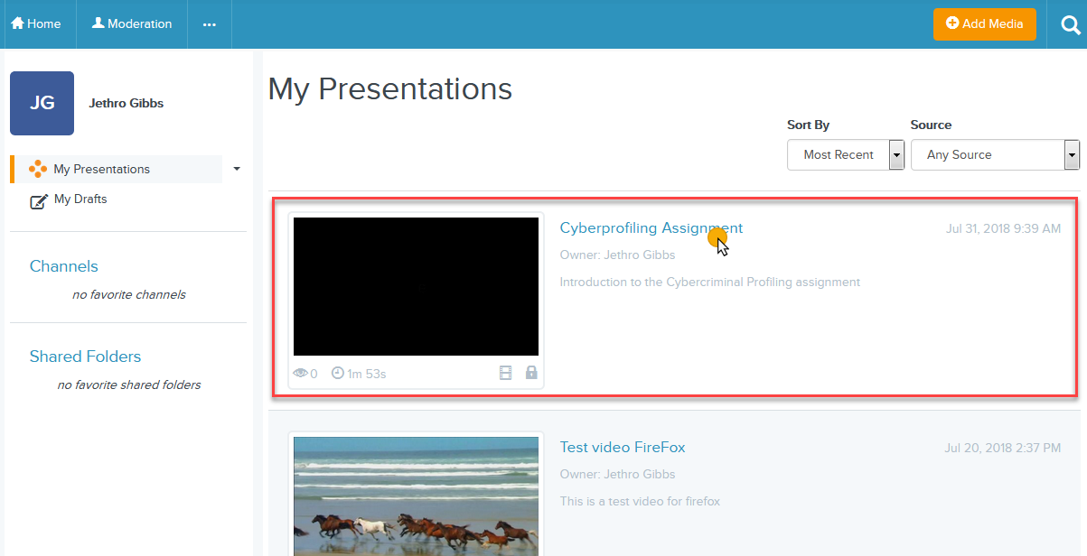 cursor on the name of the presentation with the locked icon on the My Presentations page
