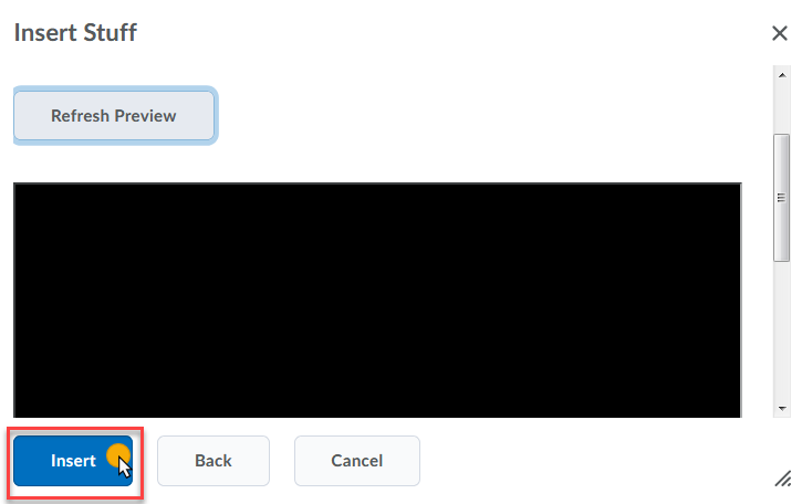 cursor on Insert button