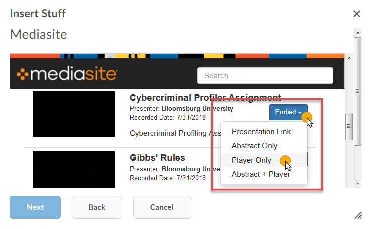 cursor on Embed and then an embed option Player Only