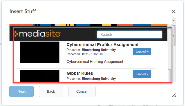 a box highlighting the list of presentations and the search box