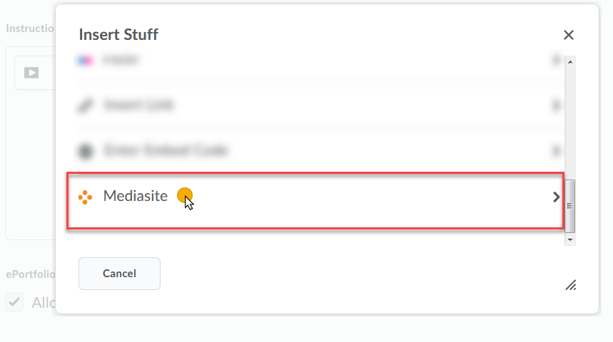 cursor selecting Mediasite from the list of Stuff to Insert