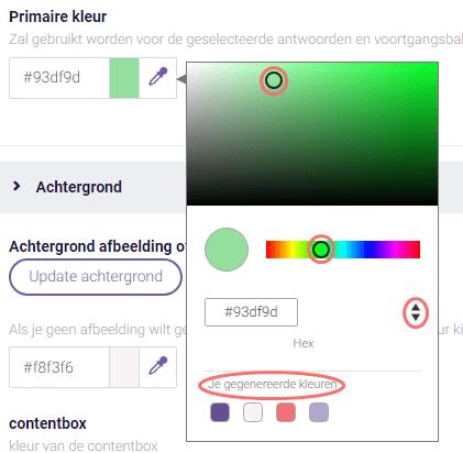 Primaire kleur selecteren