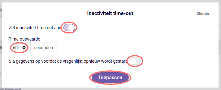 Inactiviteit time-out - zet inactiviteit time-out