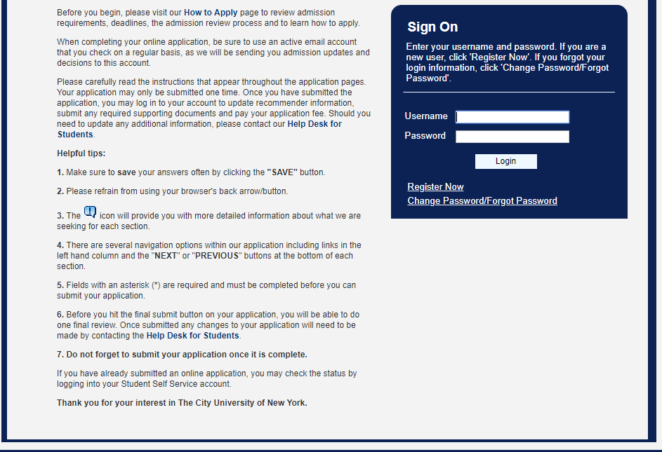 Accessing the right account : City University of New York