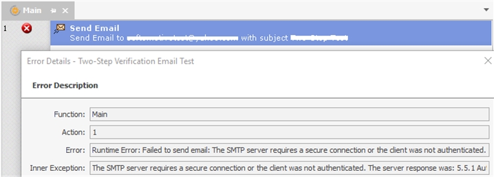 Email Actions - Error: