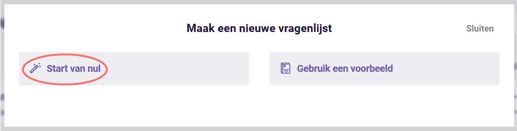 Offline - nieuwe vragenlijst - start van nul