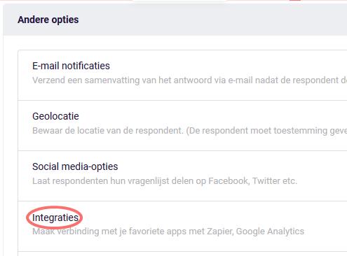 Google Analytics - Andere opties - Integraties