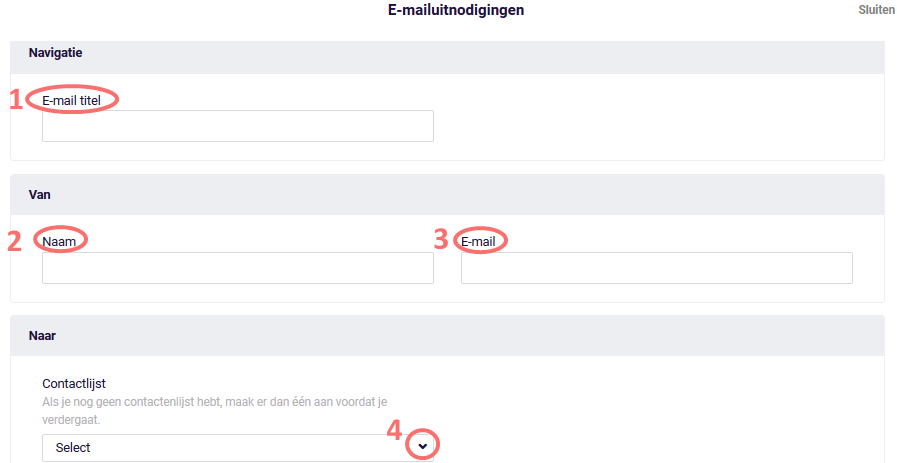 E-mail uitnodigingen - informatie