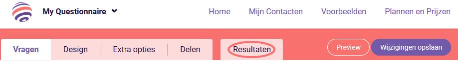 Grafieken bekijken - Resultaten tab