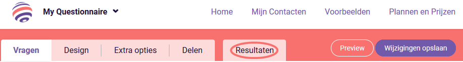 Resultaten tabblad - Presentatie