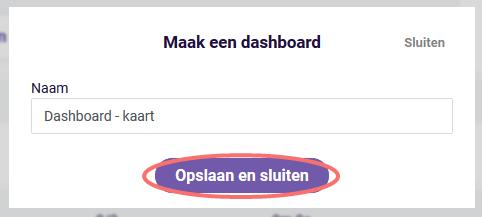 Kaart widget - naam nieuw dashboard