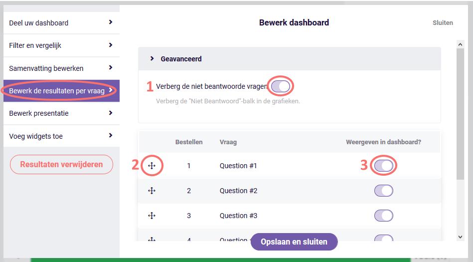 Dashboard - bewerk de resultaten per vraag