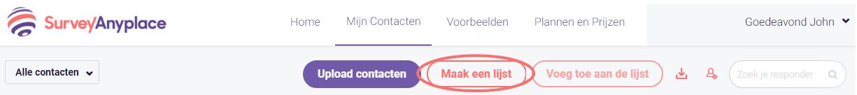 Contacten - maak een lijst