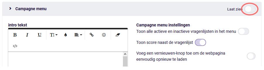 Campagne menu - laat zien