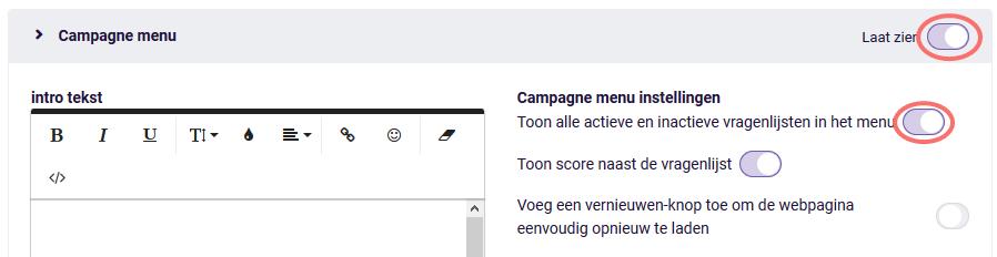Campagne menu - toon alle vragenlijsten