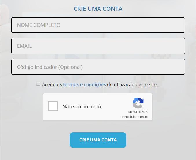 formulário de criação de conta na BitBlue