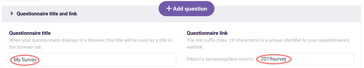 Quick guide Survey title and link