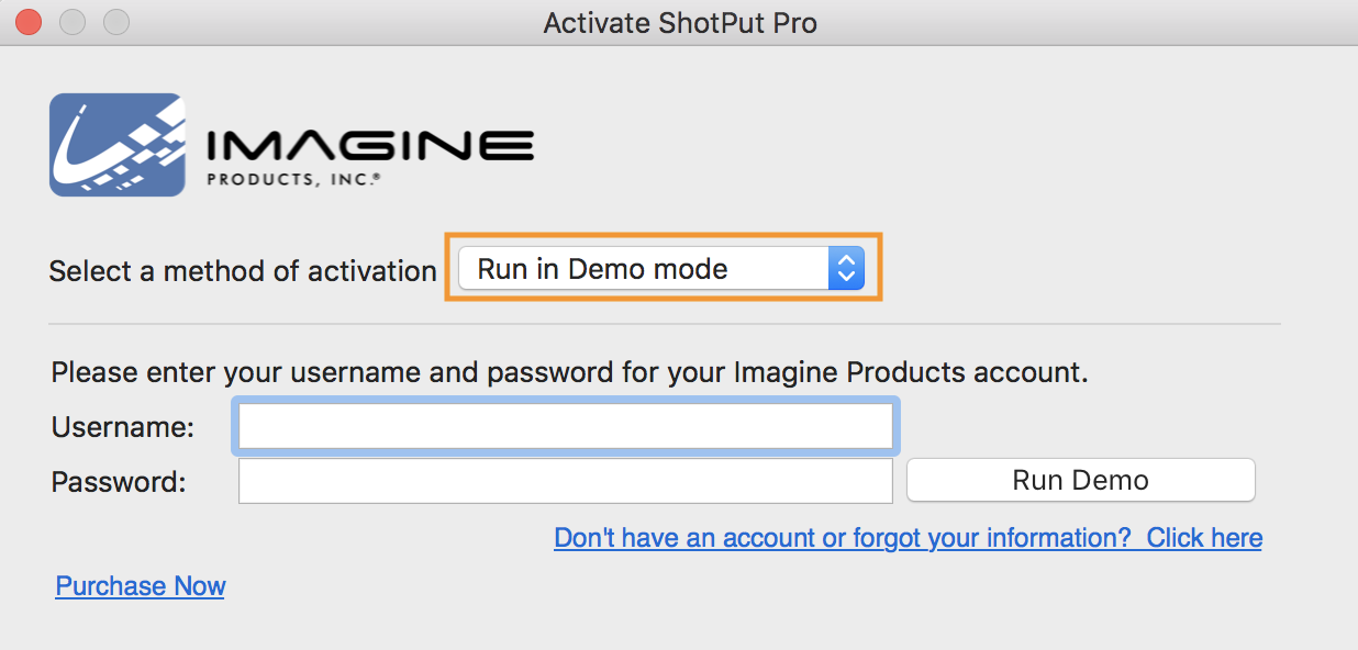 How do I run an application in demo mode? : Imagine Products