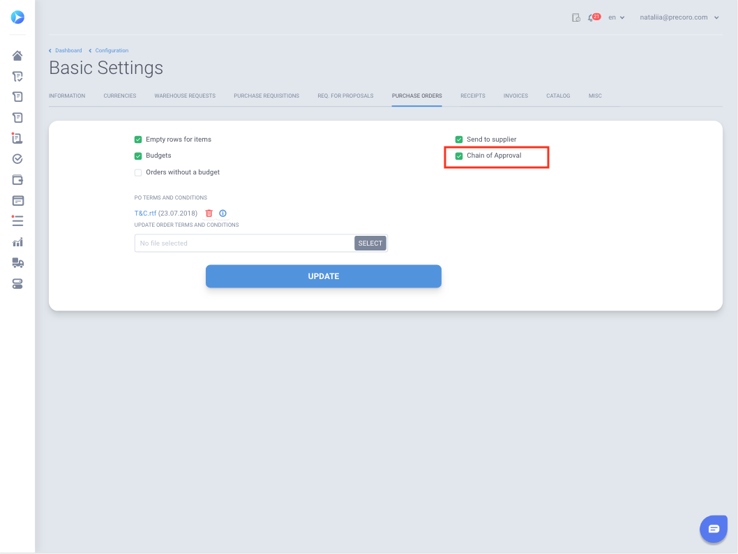 How to set up the approval workflow : Precoro Help Center