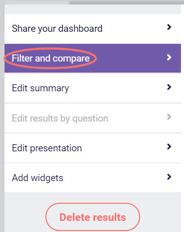 Results dashboard - filter and compare