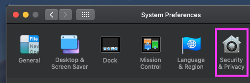 Screenshot of Security & Privacy section in System Preferences
