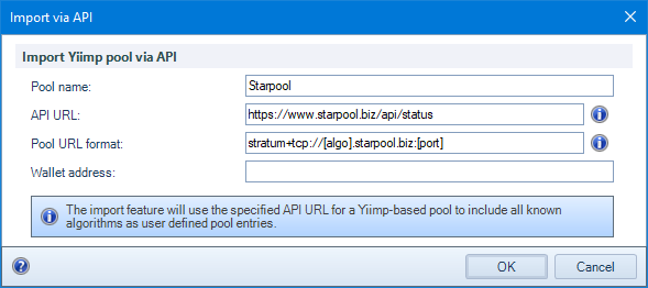 Add custom Yiimp-compatible pools : Awesome Miner