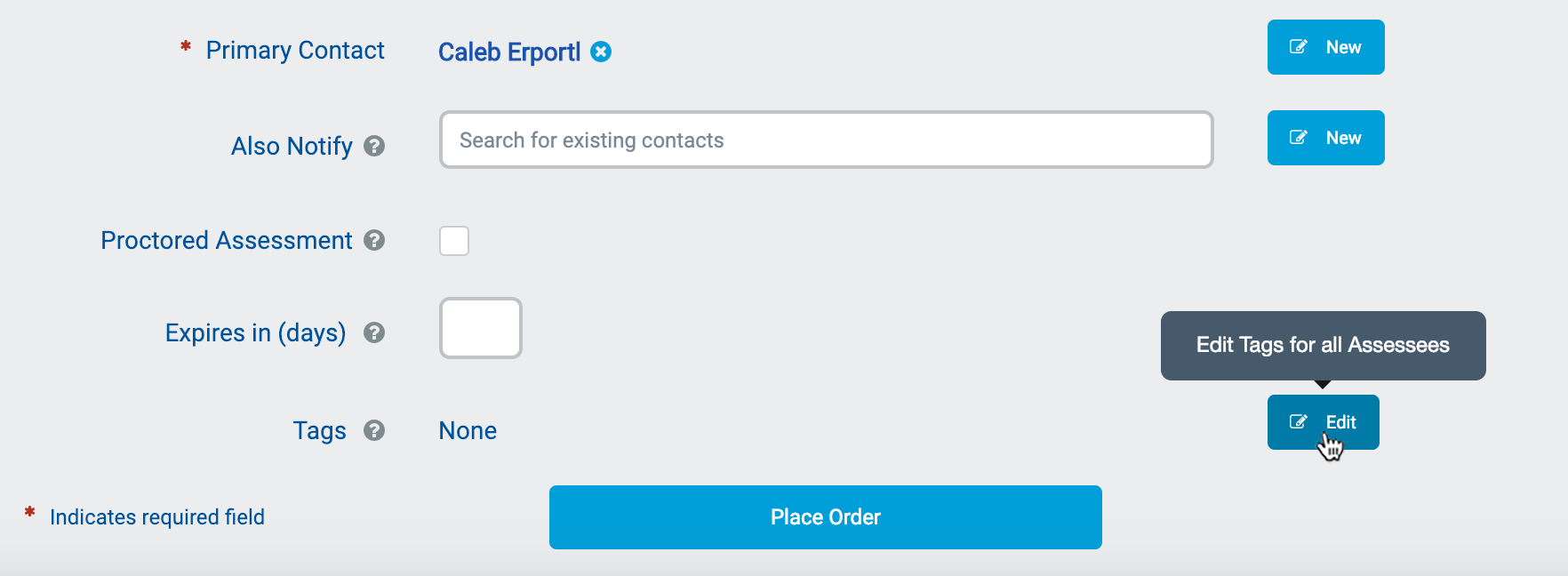 "Click on ""Edit"" from the Order Reports screen"