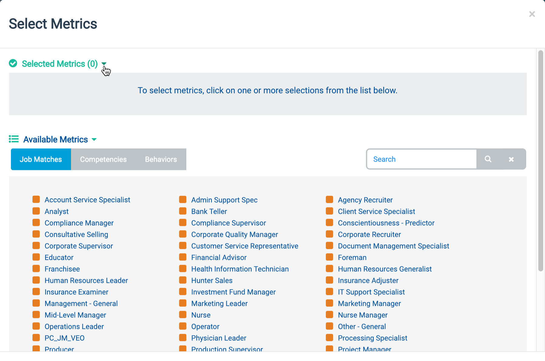 """Select Metrics"" dialog with lists of Job Matches, Competencies, and Behaviors"