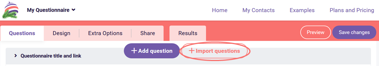 Import questions button